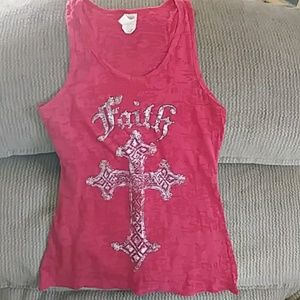 Super cute Red tank top fits like small junior